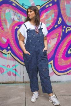 Thunder Egg – Lace Dungarees in Navy