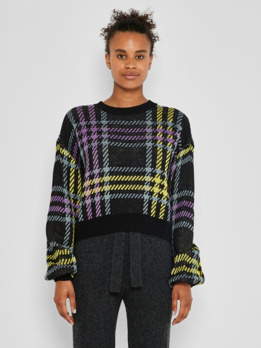 Noisy May - Cropped Checked Sweater