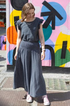 Thunder Egg - Cropped Spot Palazzo Pants in Grey