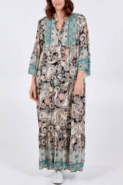 Thunder Egg - Paisley Maxi Dress in Black and Turquoise
