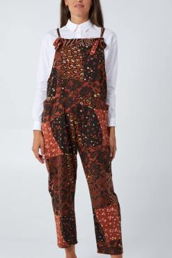 Thunder Egg - Patchwork Dungarees in Rust