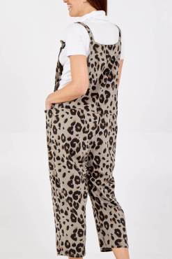 Thunder Egg - Stone Leopard Print Jersey Dungarees