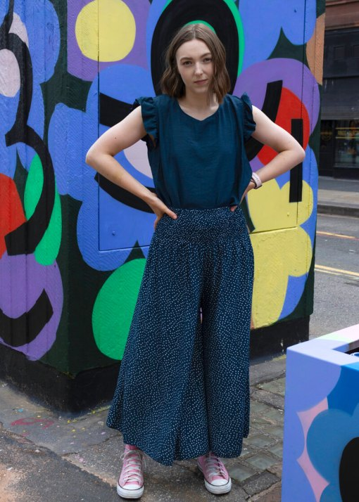 Thunder Egg - Cropped Spot Palazzo Pants in Navy