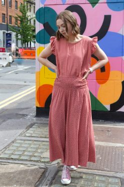Thunder Egg - Cropped Spot Palazzo Pants in Peach