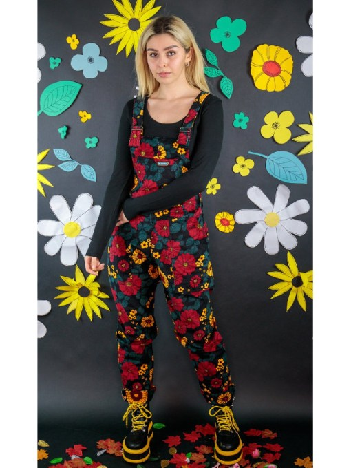 Run & Fly - Stretch Corduroy Retro Floral Dungarees
