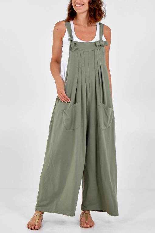 Thunder Egg - Pleated Wide Leg Jersey Dungarees in Khaki
