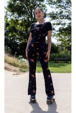 Run & Fly - Black Spectrum Star Stretch Skinny Flared Dungarees
