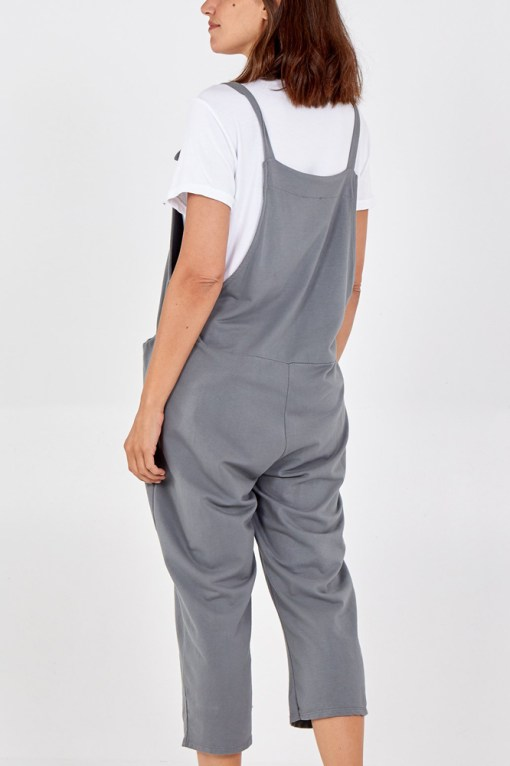 Thunder Egg - Pale Grey Jersey Dungarees