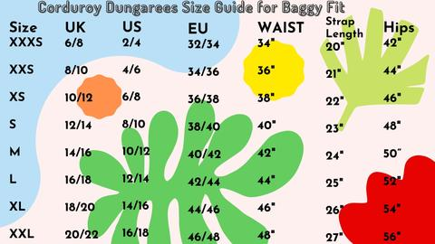 Run & Fly Corduroy Dungarees Size Guide