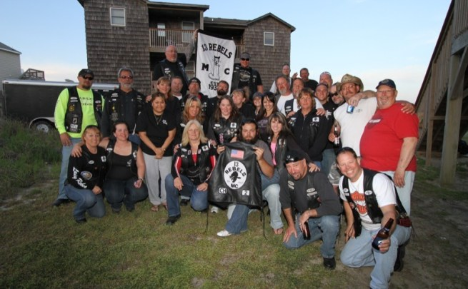 13 Rebels MC members and their families at the Outer Banks of North Carolina in April 2012