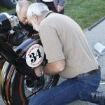 #34 Peter Reeves and crew wrenching on his '29 H-D