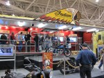 """Wide shot of the Indian Motorcycle """"sound booth"""" where you could step up and listen to the new Indian engine"""