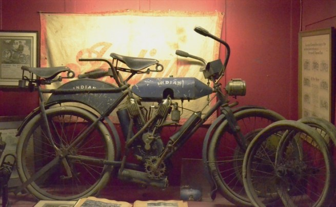 Torpedo and camel gas tanks coupled with a tandem seat and acetylene headlamp suggests that Indian was intended for endurance competitions