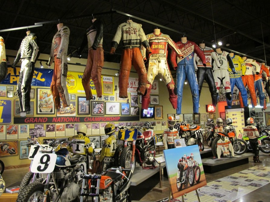Featured in the Dirt Track Heroes exhibit were dozens of leathers, bikes, steel shoes, pictures, advertisements, historical timelines and much more