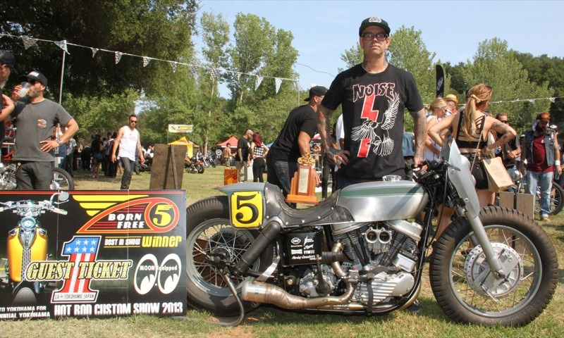 """Scott """"T-Bone"""" Jones of Noise Cycles in Santa Ana took the Best-in-Show award and earned a trip to the Mooneyes show in Japan with his café-inspired Panhead"""