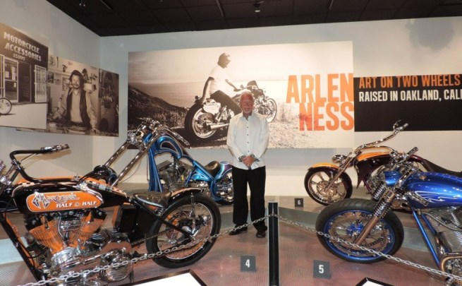 Arlen Ness stands next to his creations on display in the Petersen Automotive Museum
