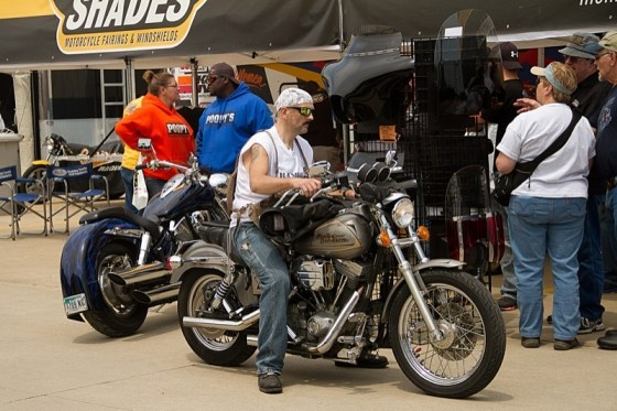 Most vendors allow attendees to ride right up to the booth and see how a product looks on their bike and assure a proper fit