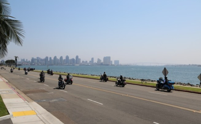 Riders took in the beauty of the San Diego skyline and bay view from Harbor Island during the southern ride