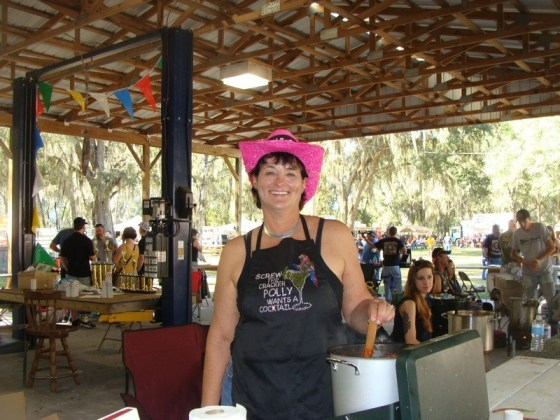 """Polly from Fred's Cluster Fux team out of Plant City stirs her team's """"Chili to dies for"""""""