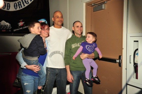 """Happy"" poses with a family of fans in Colorado Springs"