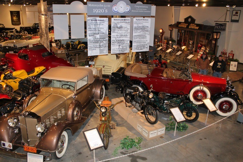 Nestled among the classic Packard autos were 30 motorcycles and 10 bicycles in the Motorcycles '3 for 10' exhibit