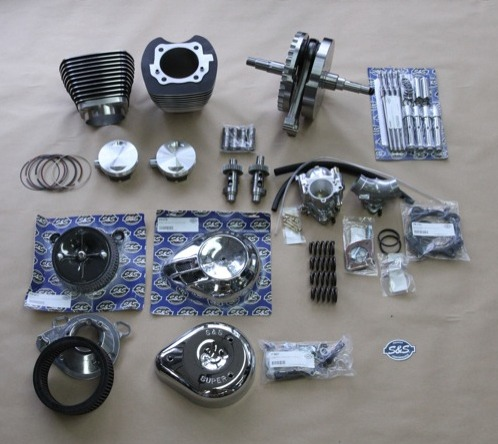 S&S parts chosen for the project included the flywheel assembly, cylinders, pistons, piston rings, pushrods and covers, tappets, cams, valve springs, carburetor with manifold, air cleaner and air cleaner covers
