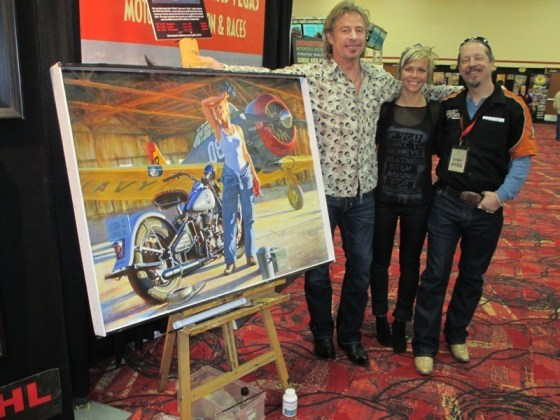 David Uhl, Jessi Combs and Jim Wear with the new painting in Las Vegas