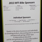 MTI sponsors for the 2013-14 school year and chopper builds