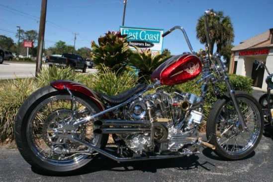 This pristine Indian Larry Knucklehead is a prime example of the work on display at the Chopper Time Show