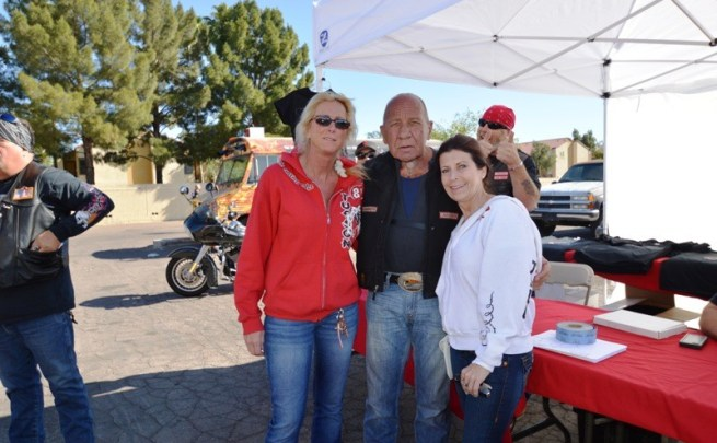 Zorana and Sonny Barger (l) pose with a friend at the Steel Horse Saloon