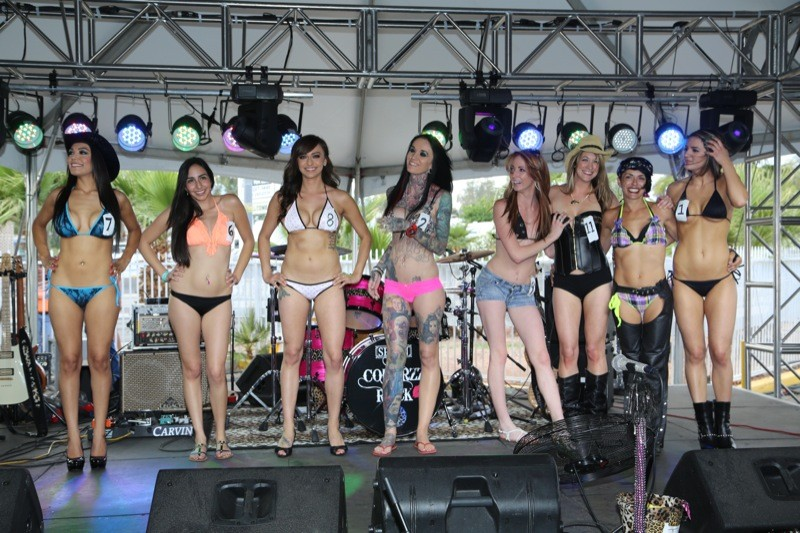 All eight Miss Laughlin River Run 2014 contestants gather and wait for the winner to be announced