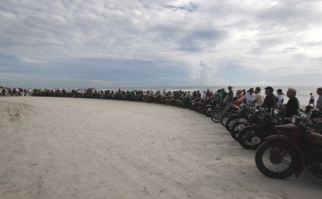 The 2014 Motorcycle Cannonball Grand Start from the shores of Daytona Beach, Florida