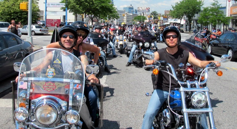 NYC H.O.G. Director Joe Sessa (l) and Grand Marshal Peter Vallone Jr. get ready to lead the ride