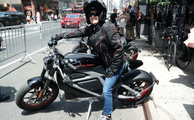 The author prepares to test ride a Project LiveWire bike on the streets of Lower Manhattan