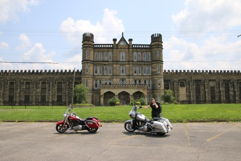 The West Virginia State Penitentiary provides a gothic backdrop for my FLD and Thundercloud and her CVO Street Glide