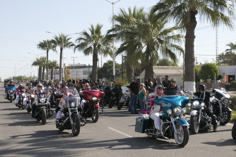 The parade Saturday morning is a big deal, over a hundred bikes were led the Bling Divas