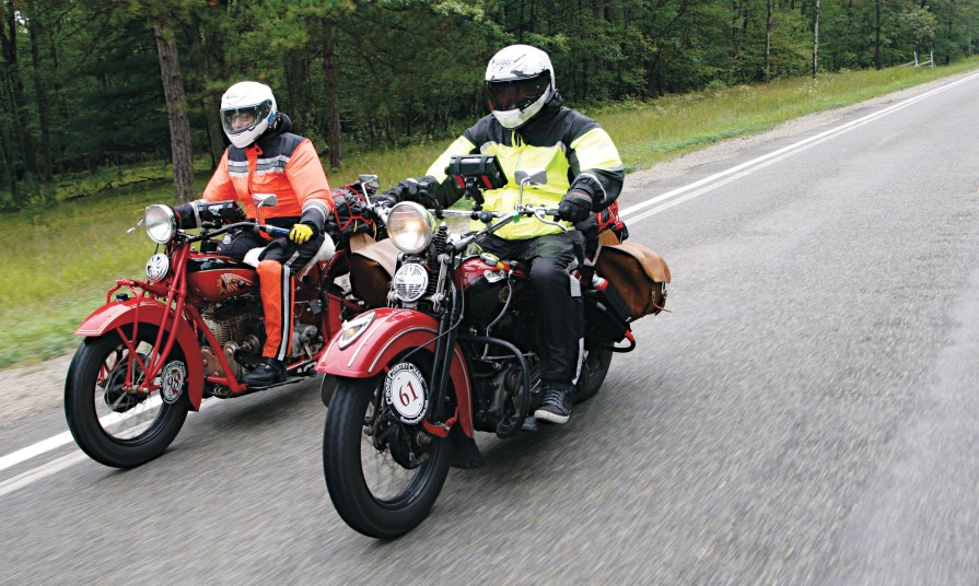 Riders from 28 states took up the challenge to navigate the back roads of America on antique motorcycles. The field consisted of nine different marques, including Harley, Indian, Triumph, Henderson, BSA, Nimbus, Norton, Zundapp and a Velocette.