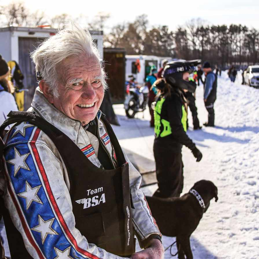 Chuck Dickinson, 79, has been racing motorcycles locally for decades.