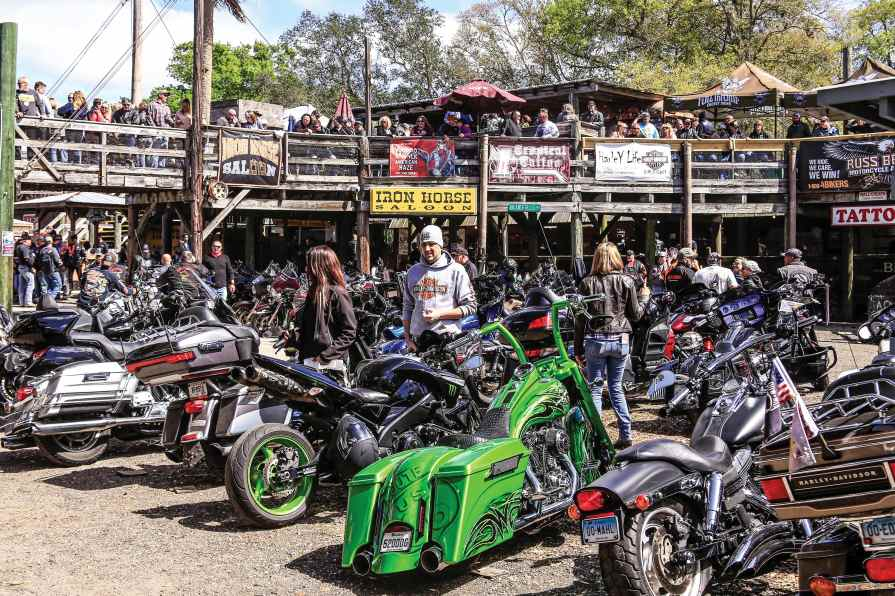 The Iron Horse Saloon is always a great place to gather, listen to live music and lay some rubber in the burnout pit.
