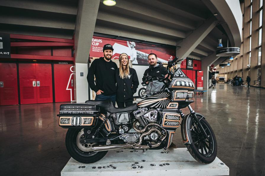 Wild paint and plenty of patina seemed to be a theme at this year's The One Show. Dubbed 'Big Jim' (right), this Harley from Stripe Cult Painting features one of the most hypnotic paint jobs we've seen, showing off the skills of rad female painter Paige Macy (middle).
