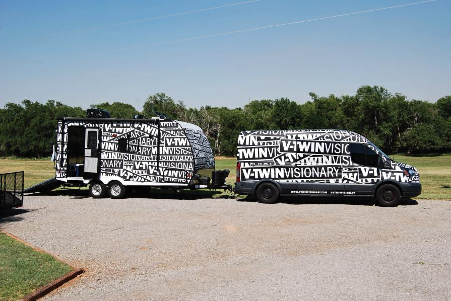 The V-Twin Visionary mobile in western Oklahoma. Eisinger slept in the toy hauler most nights.