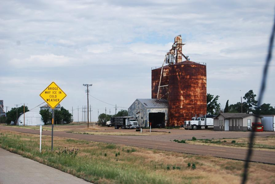 20 miles outside of Amarillo, Texas, the group spotted what is either signs of a post-industrial wasteland or a symbol of America's lasting, but rusty, strength.
