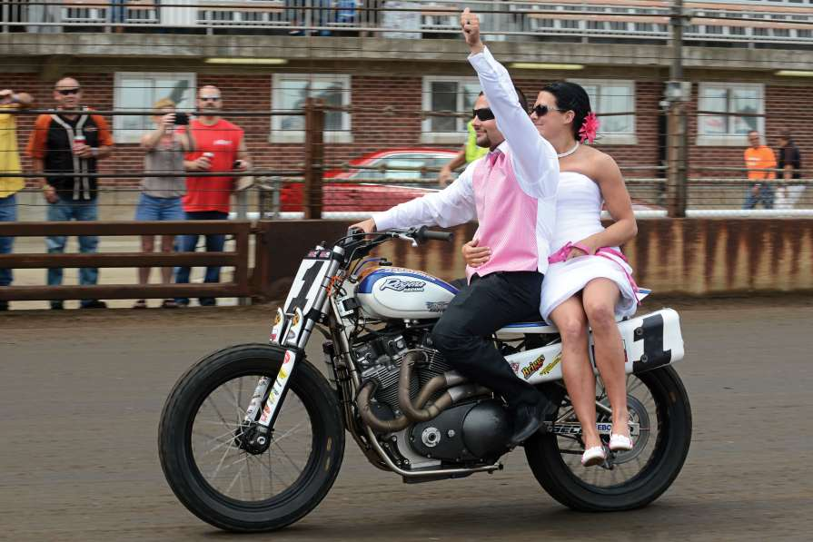 Mr. and Mrs. Mees took a lap around the Springfield Mile on Jared's #1 XR750 after their short wedding ceremony during Opening Ceremonies.