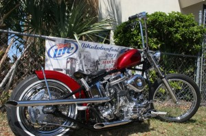 Pristine Panhead in candy-apple red