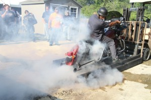 Shredding tires at the burnout contest held at Outer Banks H-D