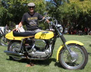 Dave Destler and his 1970 Sportster that took second-place honors in the Pre-1980 class
