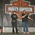 Bob Kay form Biker Pros introduces Willie G., a special guest at the Harley-Davidson Ride-In Bike Show