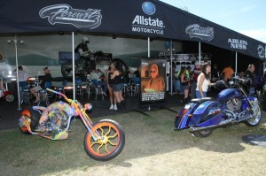 Custom bikes built by Rick Fairless, Arlen Ness and Dave Perewitz graced the Allstate booth at Winterplace Park