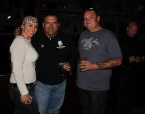 Stephanie Mackenzie from FM 97.1, Wounded Warrior mentor Joseph D. Perez and Cory Harrison from Pawn Stars
