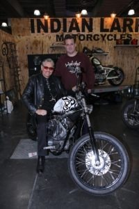 Billy Leroy of Baggage Battles and Bob Seeger of Indian Larry Motorcycles show off the White Devil